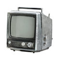 Old tv isolated on white television background Stock Images