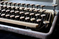 Old typewriter  in antique keys close up, selective focus. Royalty Free Stock Photo