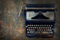 Old typewriter on the floor Royalty Free Stock Photo