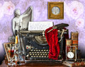 The old typewriter mishmash of different paraphernalia tools gargets and a classical statue around an writing with faded Stock Image