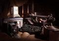 Old typewriter, retro camera and radio receiver Royalty Free Stock Photo