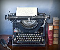 Old typewriter writing faded characters Royalty Free Stock Photo