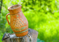 An old Ukranian clay pot outdoor Royalty Free Stock Images