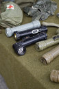 Old us military flash lights display Stock Images