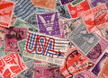 Old us stamps collection usa postage from the s scanned Royalty Free Stock Photography