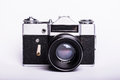 Old used dirty old-fashioned film photocamera Royalty Free Stock Photo
