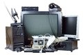 Old and used electric home waste obsolete pc computer telephone crt monitor dvd Royalty Free Stock Image