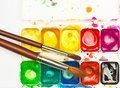 Old used watercolor paint box Stock Photography
