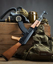 Old ussr military equipment kit of Royalty Free Stock Image