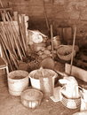 Old utensils in barn lithuania Stock Photography