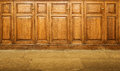 Old varnished wooden hinged cupboards with handles Stock Images