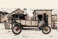 Old vehicule at a gas station in the desert vector illustration Stock Photo