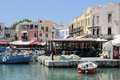 Old Venetian harbour in city of Rethymno Royalty Free Stock Photo