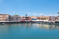 The old venetian harbour. Rethymno city, Crete island, Greece. Royalty Free Stock Photo