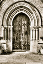 Old Victorian Door with Corinthian Columns HDR Sepia Royalty Free Stock Photo