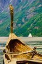 Old viking boat and ferryboat on fjord, Norway Royalty Free Stock Photo