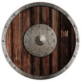 Old viking wooden shield isolated Royalty Free Stock Photo