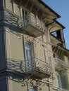 Old villa with beautiful balcony in evening sun Royalty Free Stock Photo