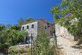 Old village in greece ano perithia at corfu island Royalty Free Stock Image