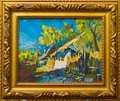 Old village lifestyle painting Royalty Free Stock Photo