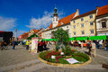 Old vine festival maribor slovenia main square in during with flowers and stalls Royalty Free Stock Photo