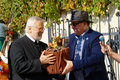 Old vine festival mayor of maribor giving a descendant of as protocol gift on ceremonial grape harvest on in historic Stock Photography