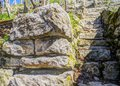 Very steep old vineyard staircase made of natural stones 3 Royalty Free Stock Photo