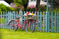 Old vintage bicycle with basket of flowers in baggage Royalty Free Stock Photo