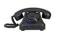 Old vintage black telephone, isolated on white background Royalty Free Stock Photo