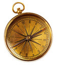 Old vintage brass compass isolated on a white background. Royalty Free Stock Photo