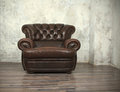 Old vintage brown leather chair Royalty Free Stock Photo