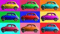 Old vintage car collage colorful. Italian industry. On coloured cells Royalty Free Stock Photo