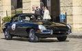 Old vintage classic car jaguar e type black Royalty Free Stock Photo