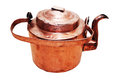 Old vintage copper teapot on a white background Royalty Free Stock Photography