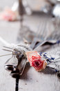 Old vintage cutlery bound with a rope, dried rose Royalty Free Stock Photo