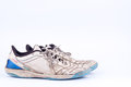 Old vintage damaged futsal sports shoes on white background isolated Royalty Free Stock Photo