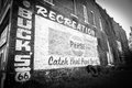 Old vintage faded painted sign on brick wall on route black and white with pepsi and fashioned vignette effect in galena Stock Photos
