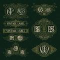 Old vintage floral elements - ribbons, monograms, stripes, lines, angles, border, frame, label, logo Royalty Free Stock Photo