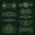Old vintage floral elements - ribbons, monograms, stripes, lines, angles, border, frame, label, logo