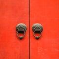 Old vintage lion head metal door ring handle knocker Royalty Free Stock Photo