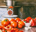 Old vintage manual grinder and slices of fresh tomatoes, red bell pepper and garlic on the table for making homemade sauce Royalty Free Stock Photo