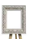 Old vintage ornate white picture frame with pattern isolated Royalty Free Stock Photo