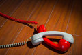 Old vintage phone handsets on wood Royalty Free Stock Photo