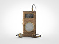 Old vintage portable radio front view of an retro wooden Royalty Free Stock Photos