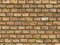Old vintage red brick wall fragment background texture. Close up Royalty Free Stock Photo