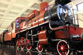 Old vintage steam locomotive in a museum Royalty Free Stock Photo