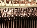 Old vintage typewriter letters macro close up Royalty Free Stock Photo