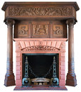 Old Vintage Victorian Fireplace Isolated Royalty Free Stock Photo