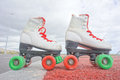Old Vintage White Skate Boot Stock Photography