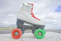 Old vintage white skate boot hdr picture of on the asphalt sterret Stock Image